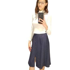 Navy midi skirt with buttons XS/ Small